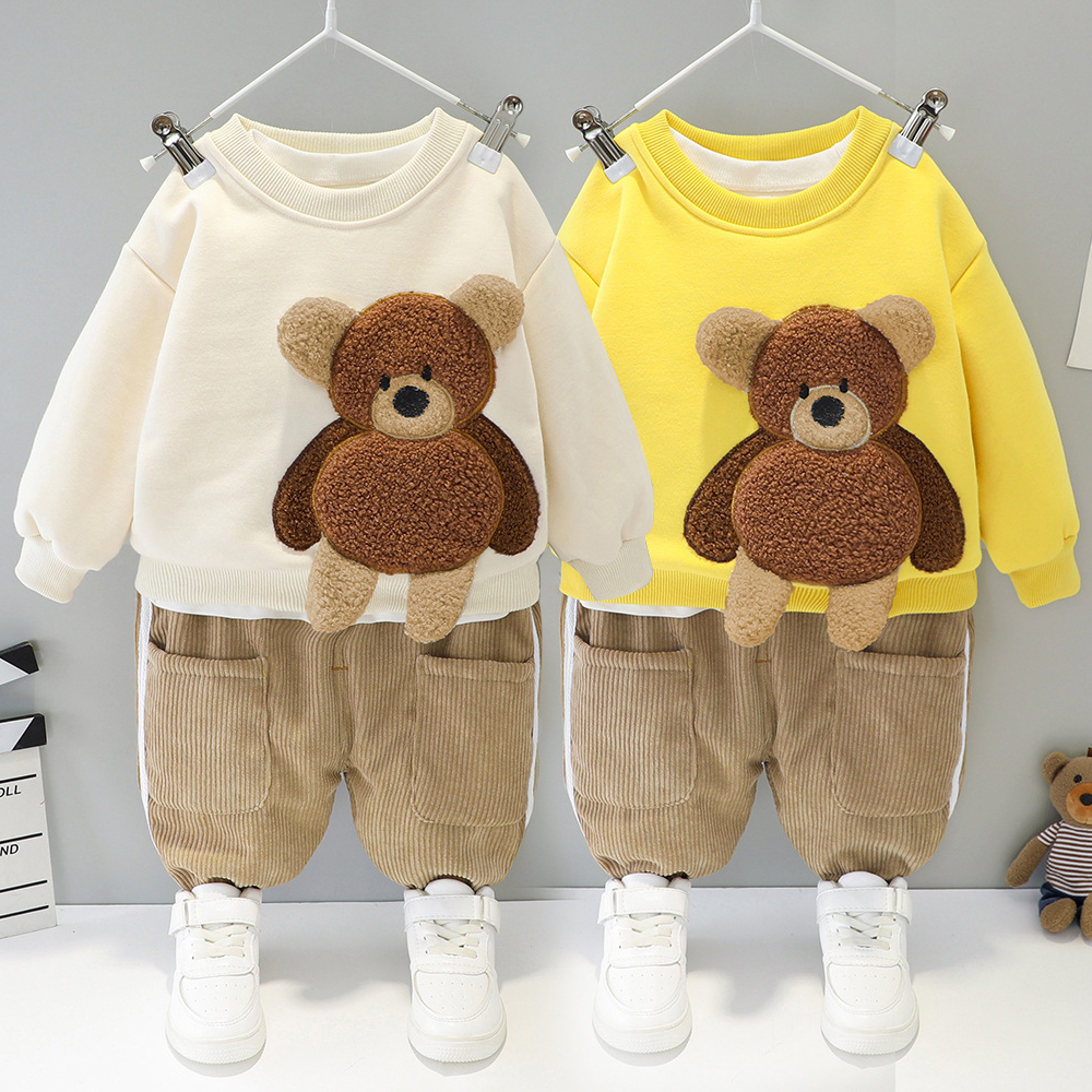 Baby boy clothes autumn and winter children's suit cartoon bear sweater + plus velvet warm corduroy slacks baby two-piece suit