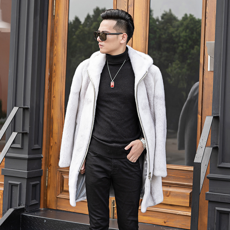 2020 New Real Mink Fur Coat Men Long Winter Jacket Hooded Slim Mens Mink Jackets Luxury Coat Men Natural Fur 909 J3306