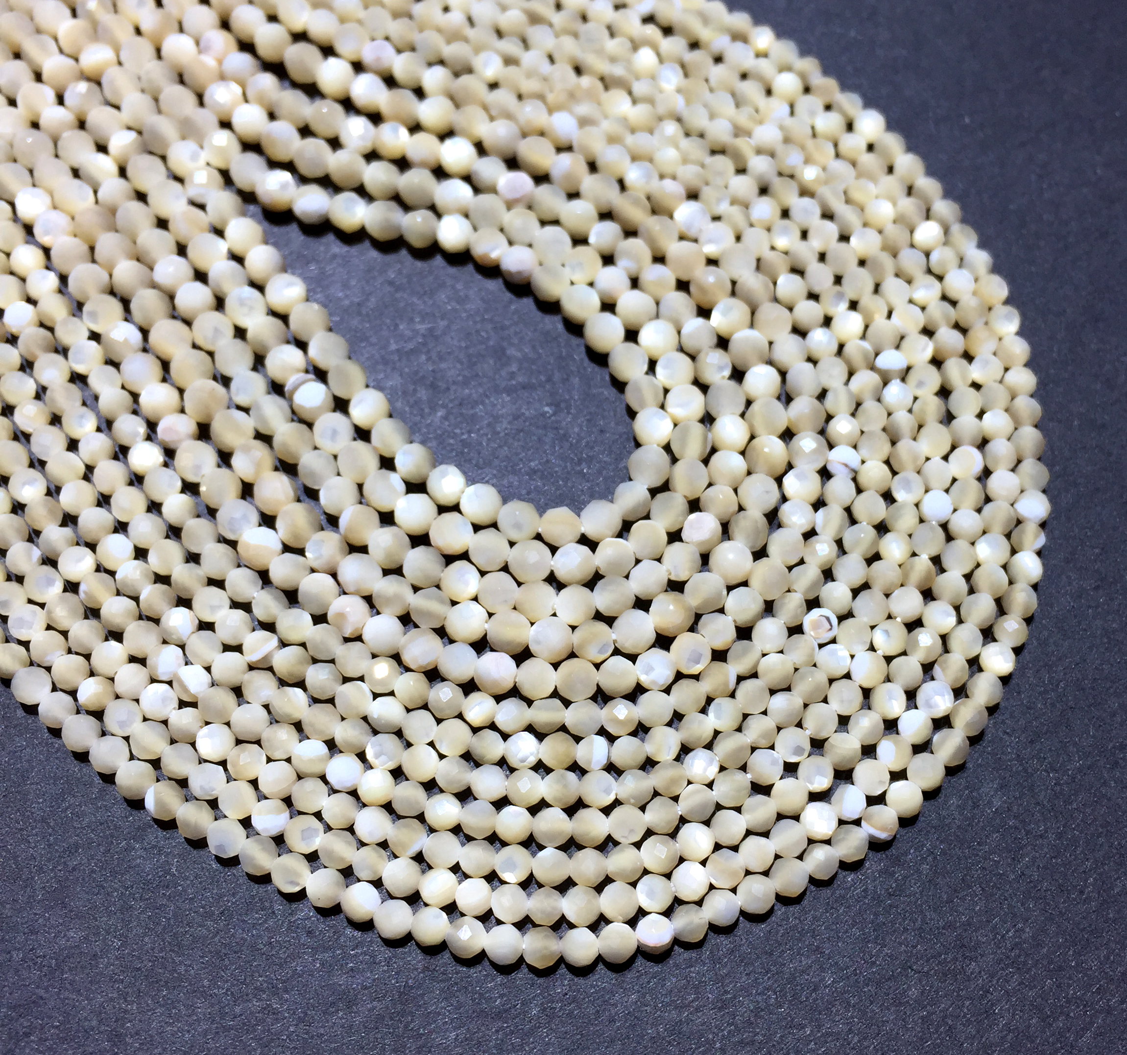 Natural 2mm Mother Of Pearl Small Size Faceted Round Loose Bead Healing Energy Gemstone Jewelry Making Bracelet Necklace Design