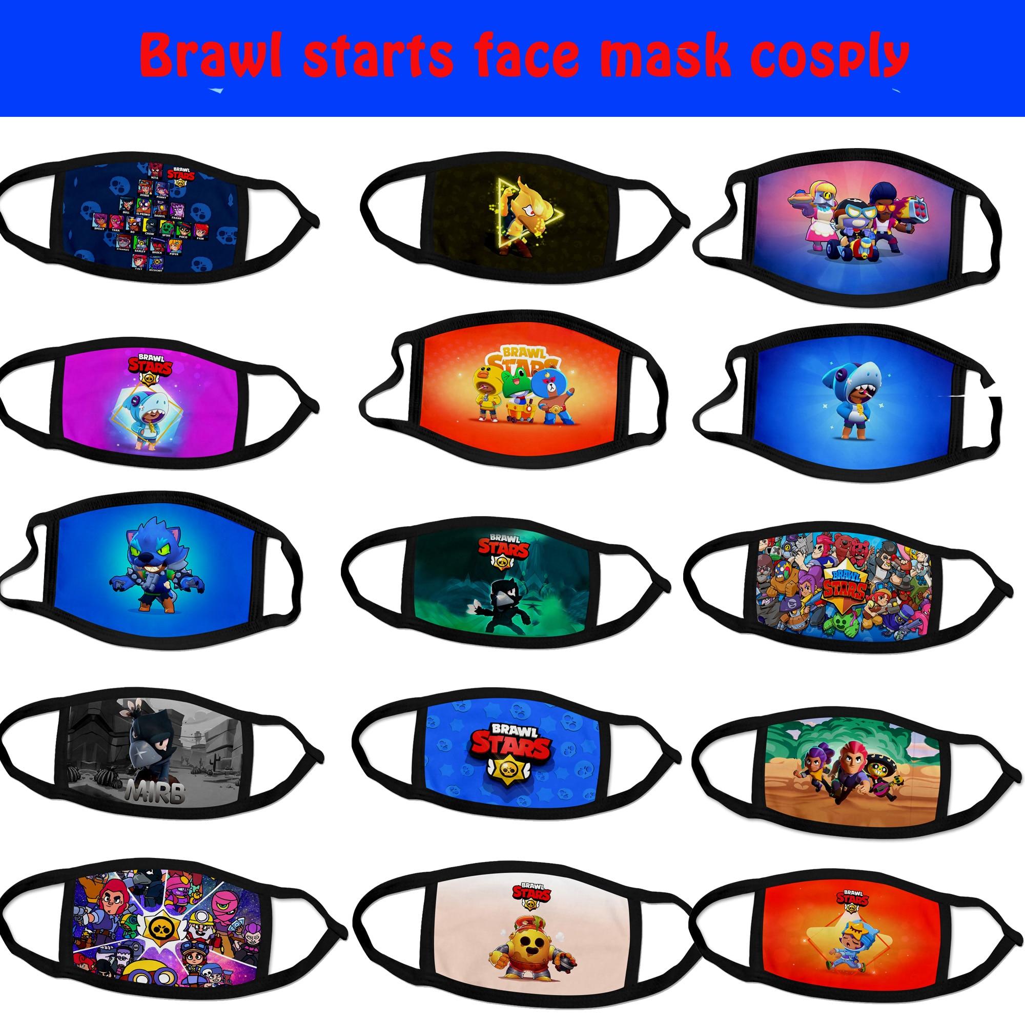 Brawling Stars Game Mouth Face Masks Cartoon Cotton Dustproof Face Mask Keep Warm Women Men Cosplay Kids Toys Anime Mouth Masks