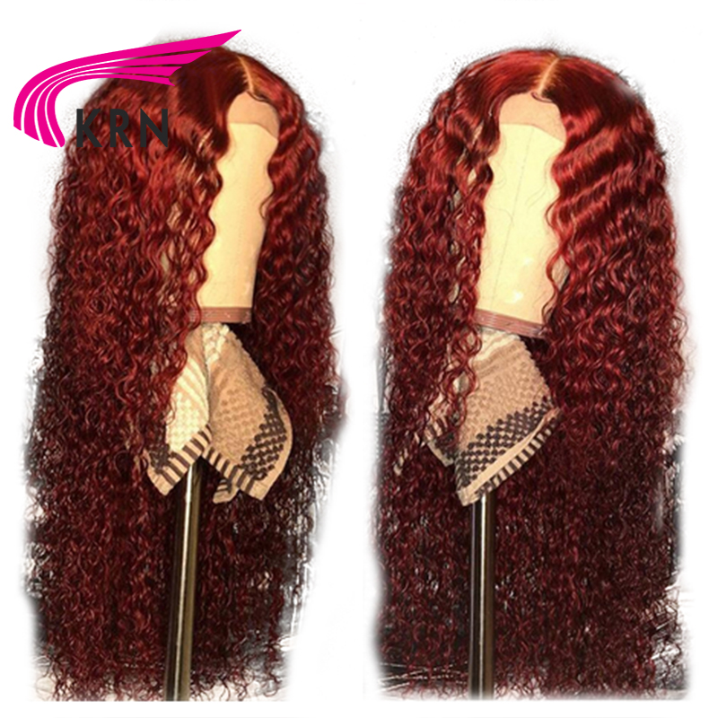 KRN 99J 13x6 Lace Front Wig Human Hair Burgundy Colored Human Hair Curly Wigs Free Part Brazilian Lace Remy Wig For Women