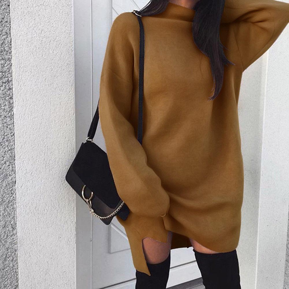 Осень зима теплый длинный рукав женский вязаный свитер платье белая водолазка свитера пуловер Джемпер Женская одежда