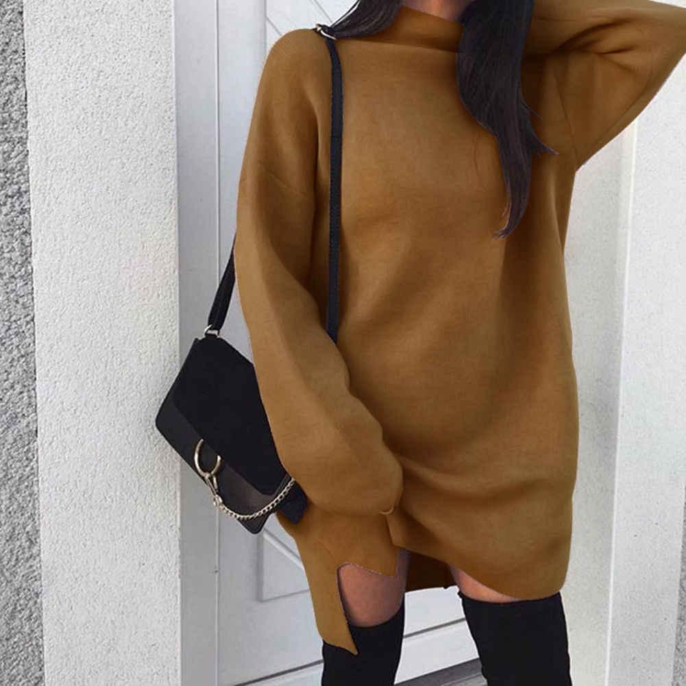 Herbst Winter Warm Langen Hülse Frauen Gestrickte Pullover Kleid Weiß Rollkragen Pullover Pullover Jumper Weibliche Kleidung