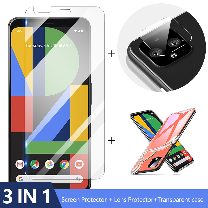 3-in-1 Case + Camera Glass For Google Pixel 4 Xl Screen Protector Lens Glass On Google Pixe 3 Protective Glass
