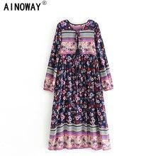 Vintage Chic women flare sleeve purple Floral print beach Bohemian v neck Maxi dress Ladies rayon Summer Boho dress