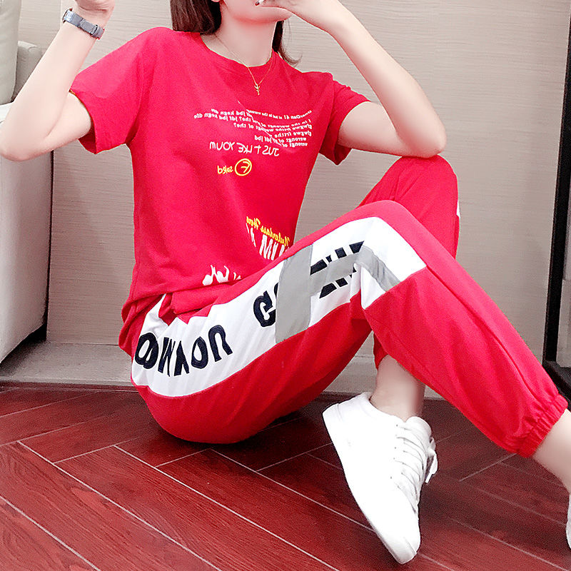 Summer Women's Red Suit Sports Street Kpop Fashion 2-piece Set Tops Trousers Jogging Femme Sweat Suit Set Club Outfits Tracksuit