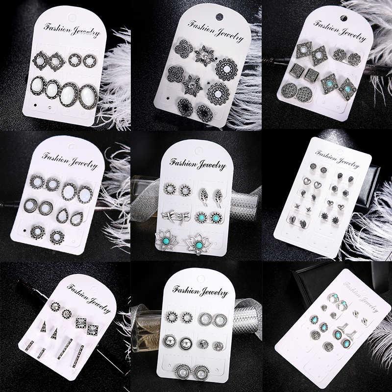 11 คู่/เซ็ตBohemian Bohoคริสตัลต่างหูแฟชั่นRhinestoneชุดเครื่องประดับหูSTUDหูต่างหูรูปไข่ผู้หญิง