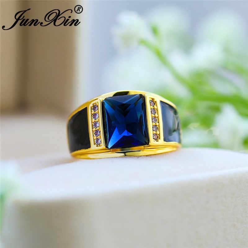 Luxury ชายเรขาคณิตสีฟ้าหินแหวนสำหรับผู้ชายผู้หญิงสีเหลืองทองแหวนแหวน Zircon บุรุษเครื่องประดับ