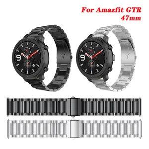 Металлический ремешок для Amazfit GTR 47 мм, браслет из нержавеющей стали для Huami Amazfit GTR/Pace/Stratos, ремешок для часов 22 мм для Huawei GT