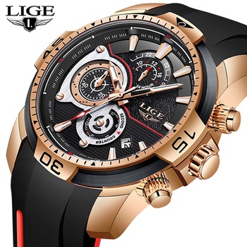 LIGE 2020 New Fashion Mens Watches Silicone Strap Top Brand Luxury Sport Chronograph Military Waterproof Watch Relogio Masculino - discount item  90% OFF Men's Watches