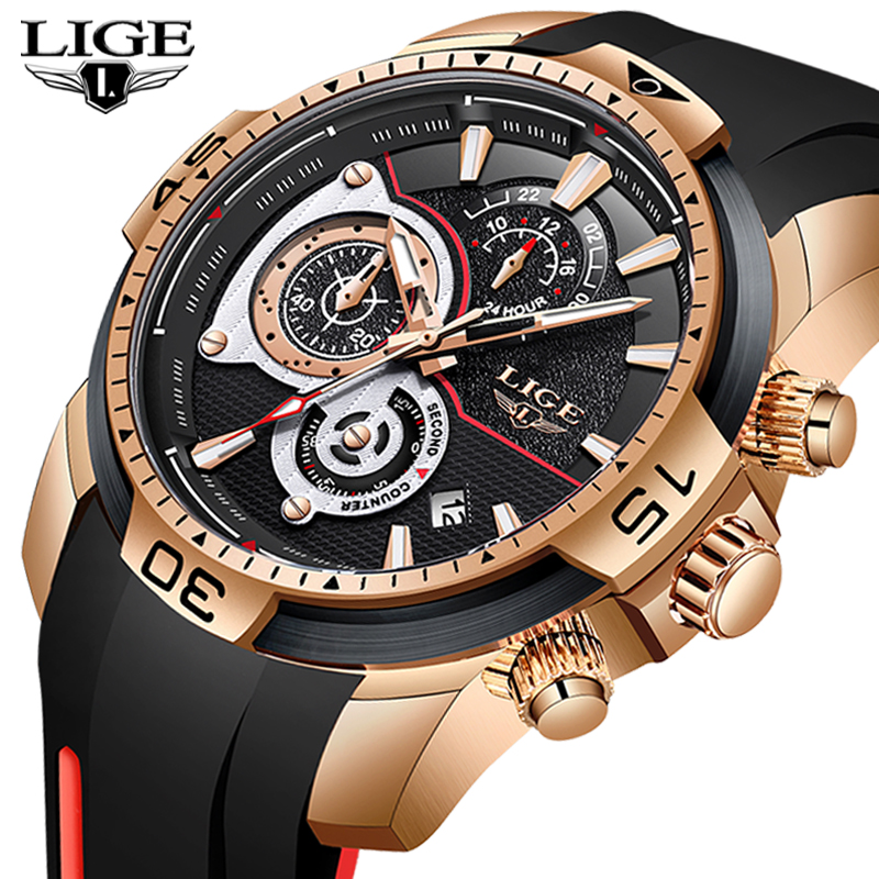 Relogio Masculino LIGE 2020 New Fashion Mens Watches Silicone Strap Top Brand Luxury Sport Chronograph Military Waterproof Watch