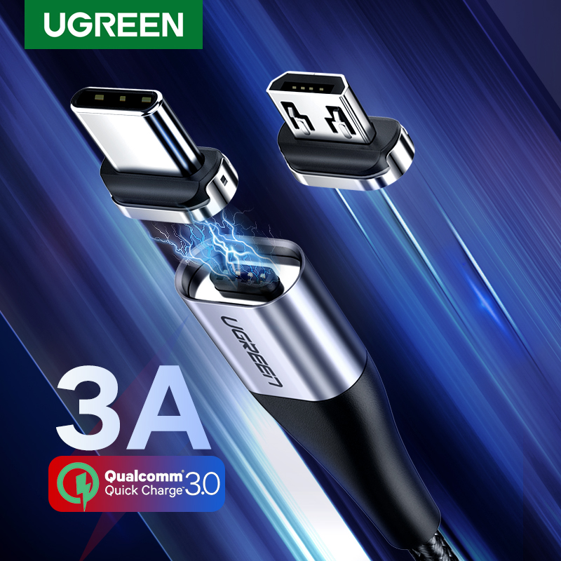 Ugreen Magnetic Type C Cable 3A Fast Micro USB Charging Data Cable for Samsung Xiaomi Magnet USB C Charger Mobile Phone USB Cord(China)