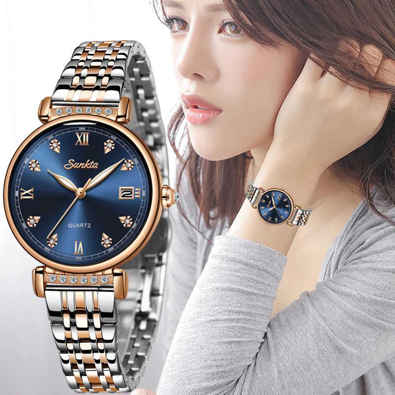 Relógio montre femme sunkta, novo relógio feminino, de marca de luxo, design criativo, relógios de pulso de aço para mulheres