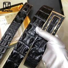 McParko Cinturón de piel auténtica de cocodrilo para hombre, cinturón con hebilla en la espalda de cocodrilo, correas de cintura