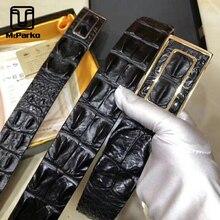 McParko Mens Belts Luxury Crocodile Genuine Leather Belt Men  Authentic Crocodile Back Skin Press Buckle Straps Waist Belt Male