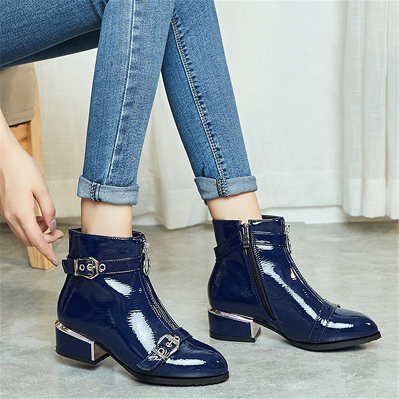 Image 5 - MORAZORA 2020 new arrival ankle boots for women buckle zip round toe autumn winter boots fashion dress office shoes female-in Ankle Boots from Shoes