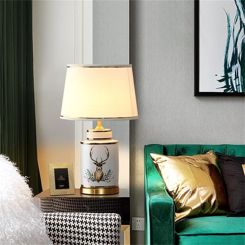 Керамические настольные лампы oufula латунный светильник для