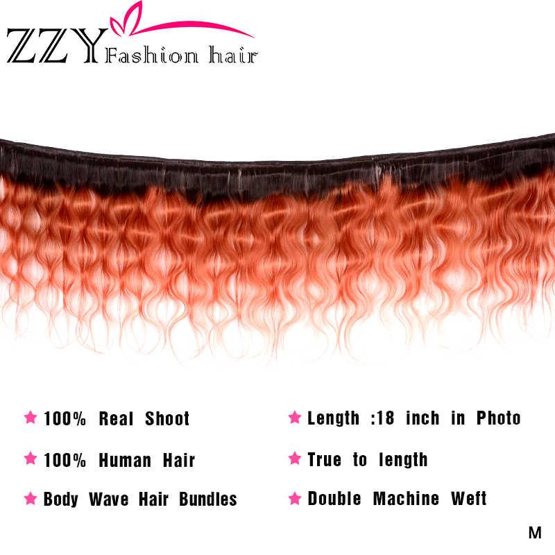 ZZY brazylijska T1B/350 doczepy typu body wave z przednim niereligicznym włosy ludzkie w kolorze blond koronkowe przednie zamknięcie z wiązką