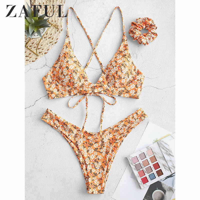 ZAFUL Printing Sexy Bikini Set Swimsuit Two Piece Swimwear Swimming Suit For Women With Hair Band Female Bathing Suit Biquini