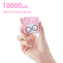 CASEIER Mini Power Bank 10000mAh Cute USB LED Power