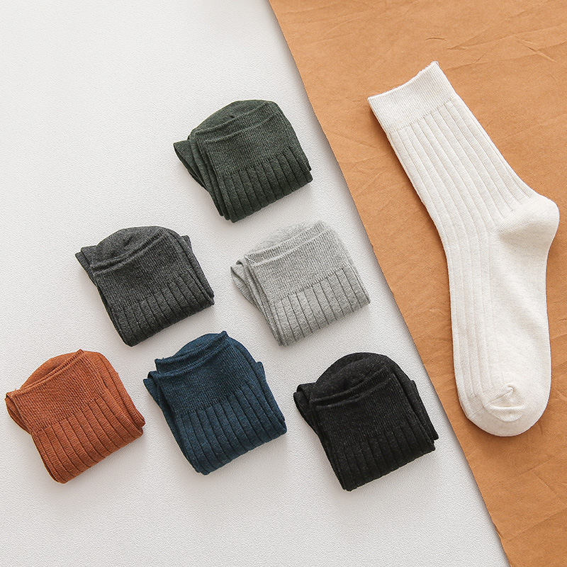 7 Colors Men's 4 Seasons Double Needles Cotton Knitting Rib Casual Basic Socks Business Deodorant And Sweat Draw Socks Male