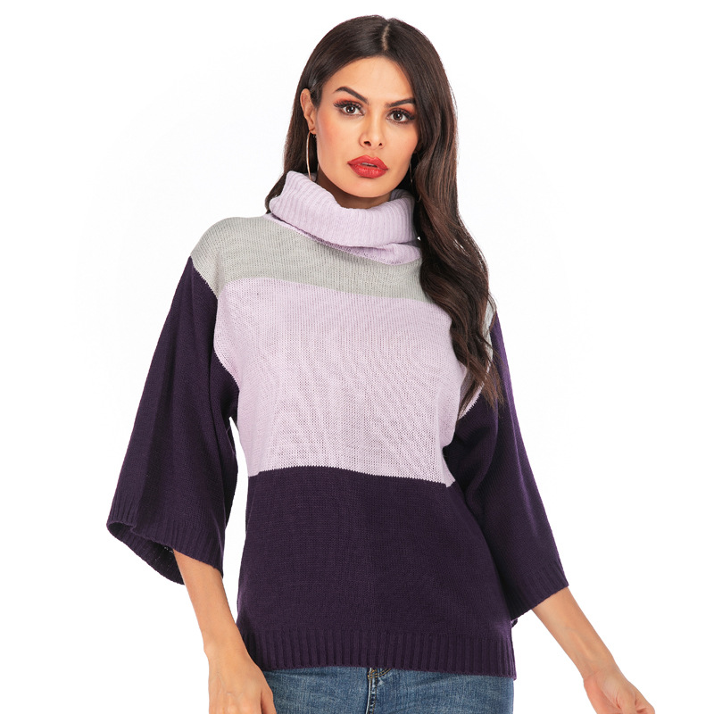Womens Winter Long Knitted <font><b>Sweater</b></font> Dress Turtleneck <font><b>3/4</b></font> <font><b>Sleeves</b></font> Oversized Loose Stitching Color <font><b>Sweater</b></font> Pullover image