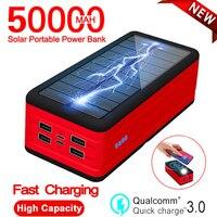 Banco de energía Solar de 50000mah, cargador inalámbrico rápido con luz LED SOS, batería externa de carga portátil para Xiaomi, Iphone y Samsung