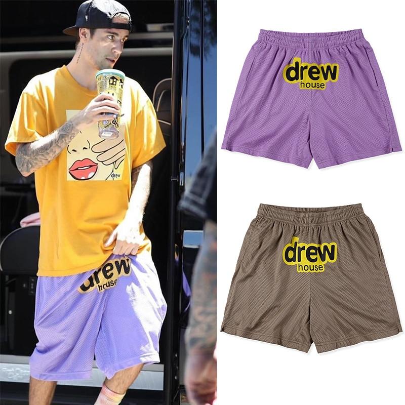 2020 Summer Justin Bieber 1:1 Drew House Printed Men Mesh Drawstring Stretch Shorts Hiphop Drew Casual Shorts Beach Shorts