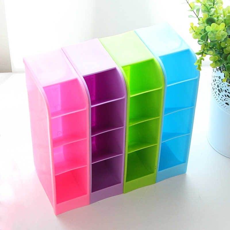 Multi-function 4 Grid Desktop Pen Holder School Storage Case Office Organizer Cute Desk Accessories