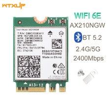 Двухдиапазонная беспроводная Wi-Fi карта 6E AX210 M.2 NGFF 2400 Мбит/с для Intel AX210NGW 2,4 ГГц/5G 802.11ax Bluetooth 5,2 Wi-Fi сетевая карта