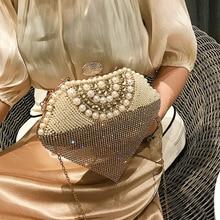 Pearl Bag 2019 New Fairy Bag Female INS Chain Tassel Diamond Shoulder Diagonal Package Heart-shaped Evening Bag недорого