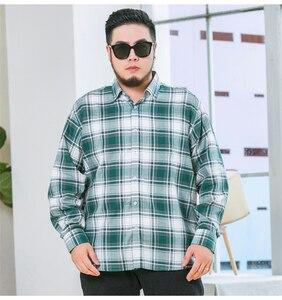 Image 5 - حجم كبير 5XL 6XL 7XL 8XL 9XL 10XL 2020 الرجال طويلة الأكمام 100% تي شيرتات قطن الأعمال فضفاض عادية قمصان مربعة النقش الذكور ماركة الملابس