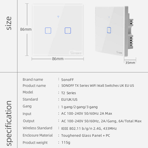 Image 5 - SONOFF TX/T2 EU/UK 1/2/3 Gang Light Led Wall Switch Touch/Wifi/433Mhz RF Remote/Voice Control Smart Panel for Google Home Alexa