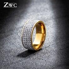 ZWC модное кольцо из нержавеющей стали с 5 рядами кристаллов для женщин и мужчин, обручальное роскошное женское золотое серебряное кольцо из циркона, ювелирное изделие