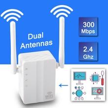 Drahtlose WiFi Repeater Signal Verstärker Wi Fi Range Extender 300M 2,4G Wand Stecker Signal Booster Repeater mit Externe Antenne