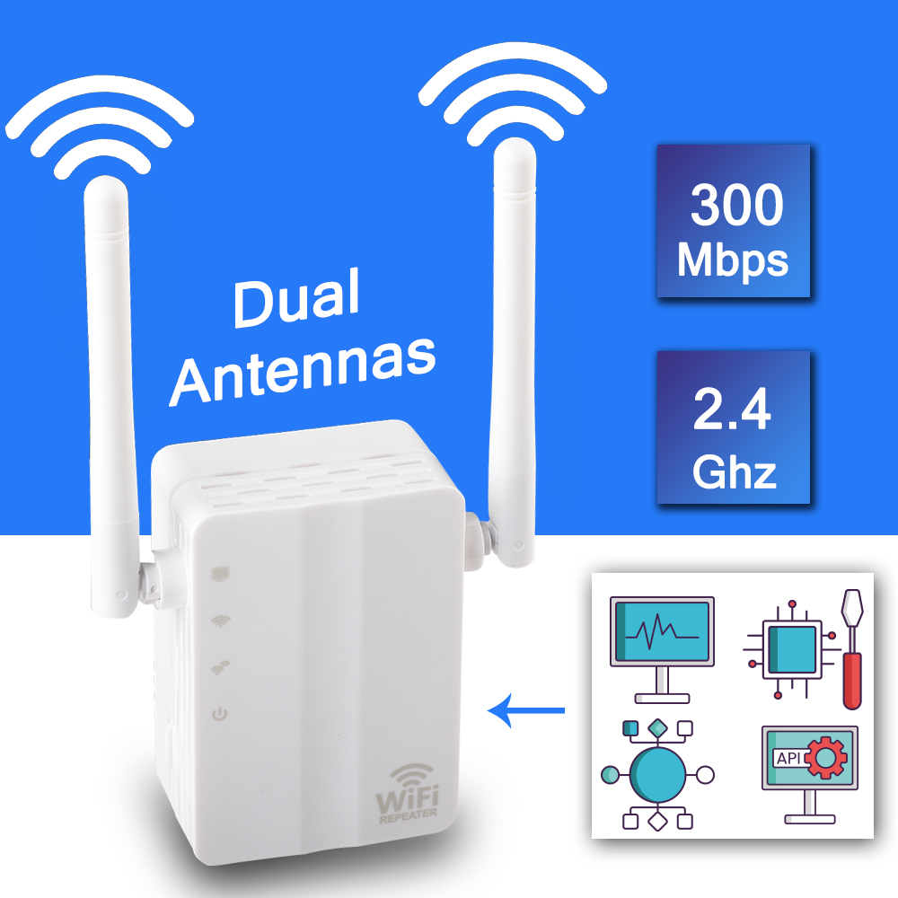 Wireless WiFi Repeater Signal Amplifier Wi-Fi Range Extender 300M 2.4G Wall Plug Signal Boosters Repeater With External Antenna