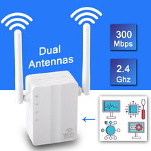Wireless WiFi Repeater Signal Amplifier Wi Fi Range Extender 300M 2.4G Wall Plug Signal Boosters Repeater with External Antenna
