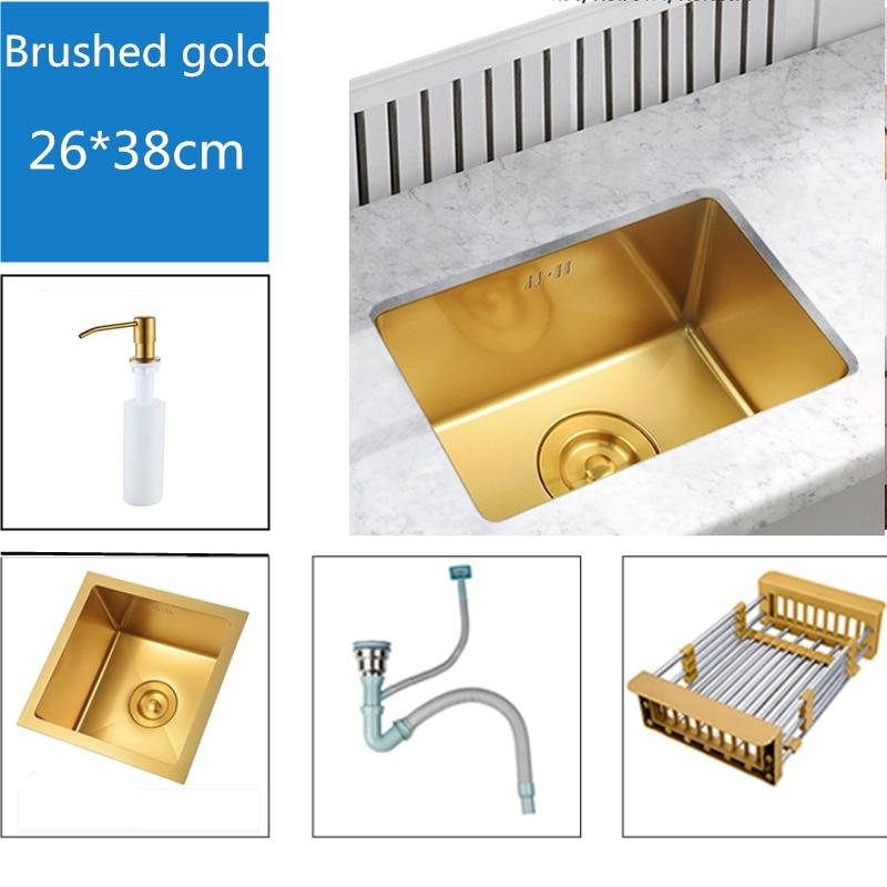 10*15inch Kitchen Sinks 304 Stainless Steel Kitchen Bowl Set Brushed Gold Kitchen Sink Undermount Double Holder Mixer Water Taps