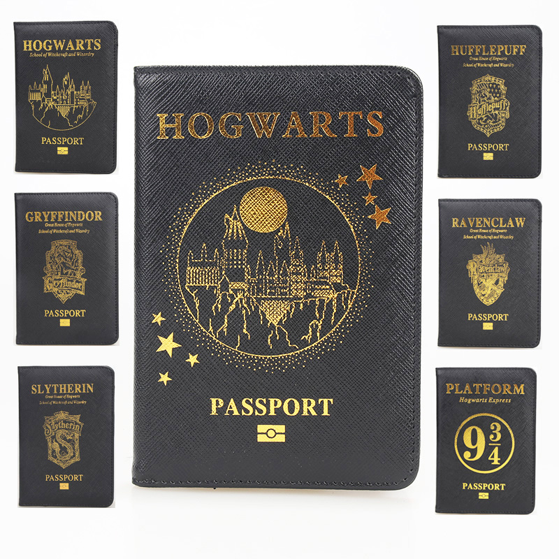 HEQUN Hogwarts Rfid Blocking Passport Cover Slytherin Gryffindor Ravenclaw Hufflepuff Passport Holder Travel Passport Card Case