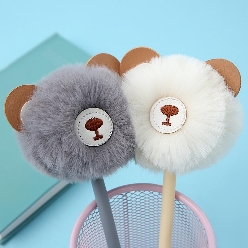 Kawaii Fluffy Cartoon Bear Hair Ball Gel Pen Signature Pen Neutral Pen School Office Supply Promotional Gift