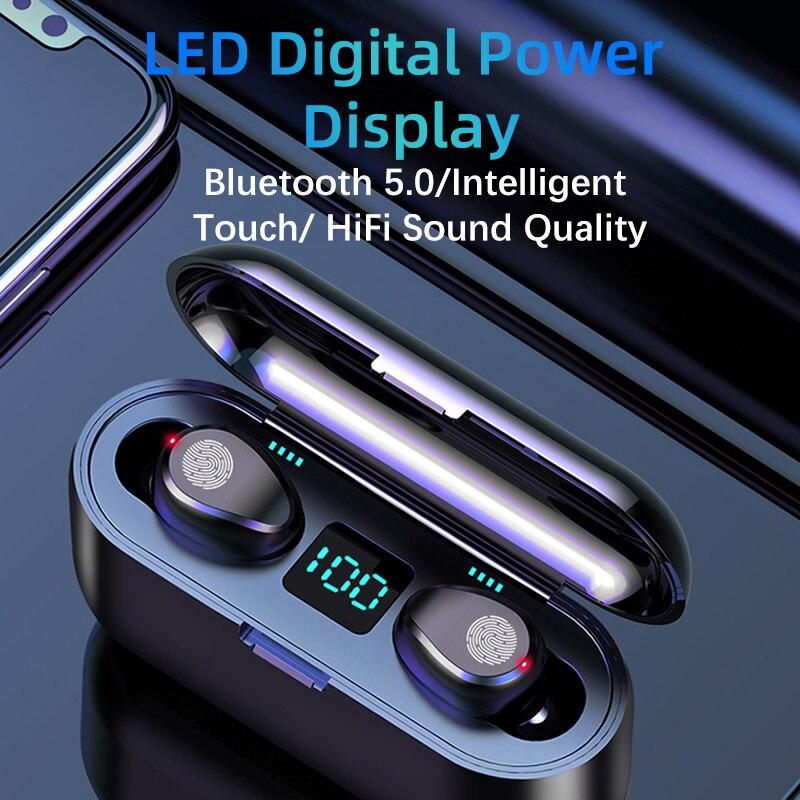 Fones de ouvido sem fio F9 Bluetooth 5.0, fone de ouvido TWS Hi-Fi esportivo suporte iOS/Android chamadas HD