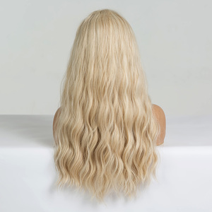 Image 4 - EASIHAIR Long Vanilla Blonde Wave Wigs with Bangs Synthetic Glueless Wigs For Black Women Cosplay Wigs Natural Hair Wigs