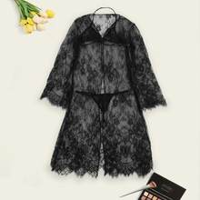 2020 Sexy Lingerie Womens The Lace Bodydoll The Nightwear Baby Doll Dress See through Lingerie Underwear dressing gown N3(China)