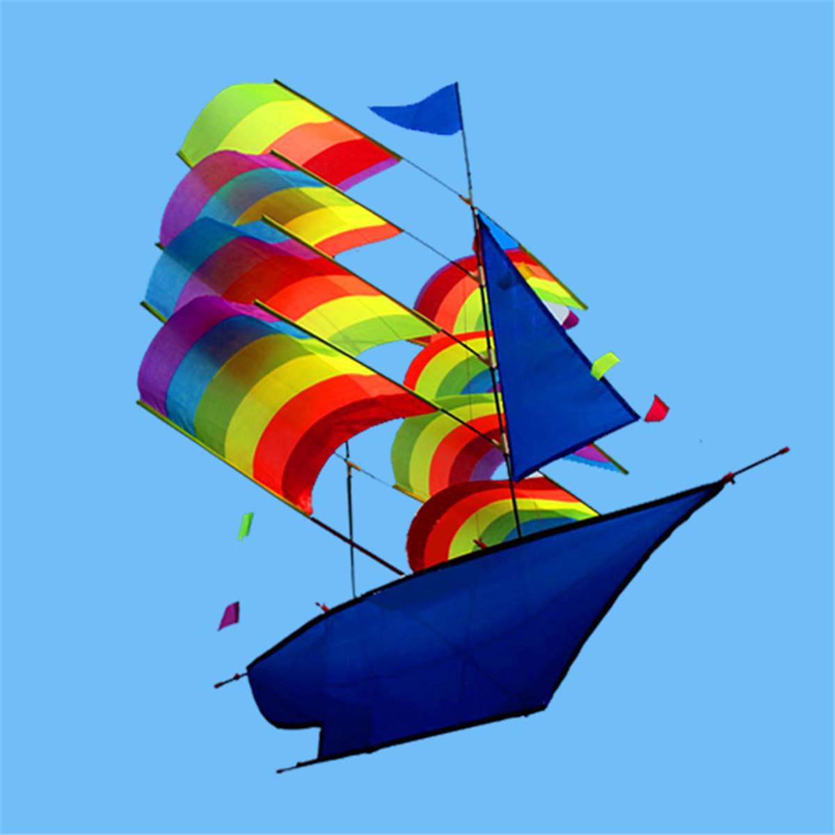 3D Rainbow Sailboat Flying Kite Large Outdoor Fun Sports Toys Children Kids Game Activity Children Gifts Colorful Ship Kites
