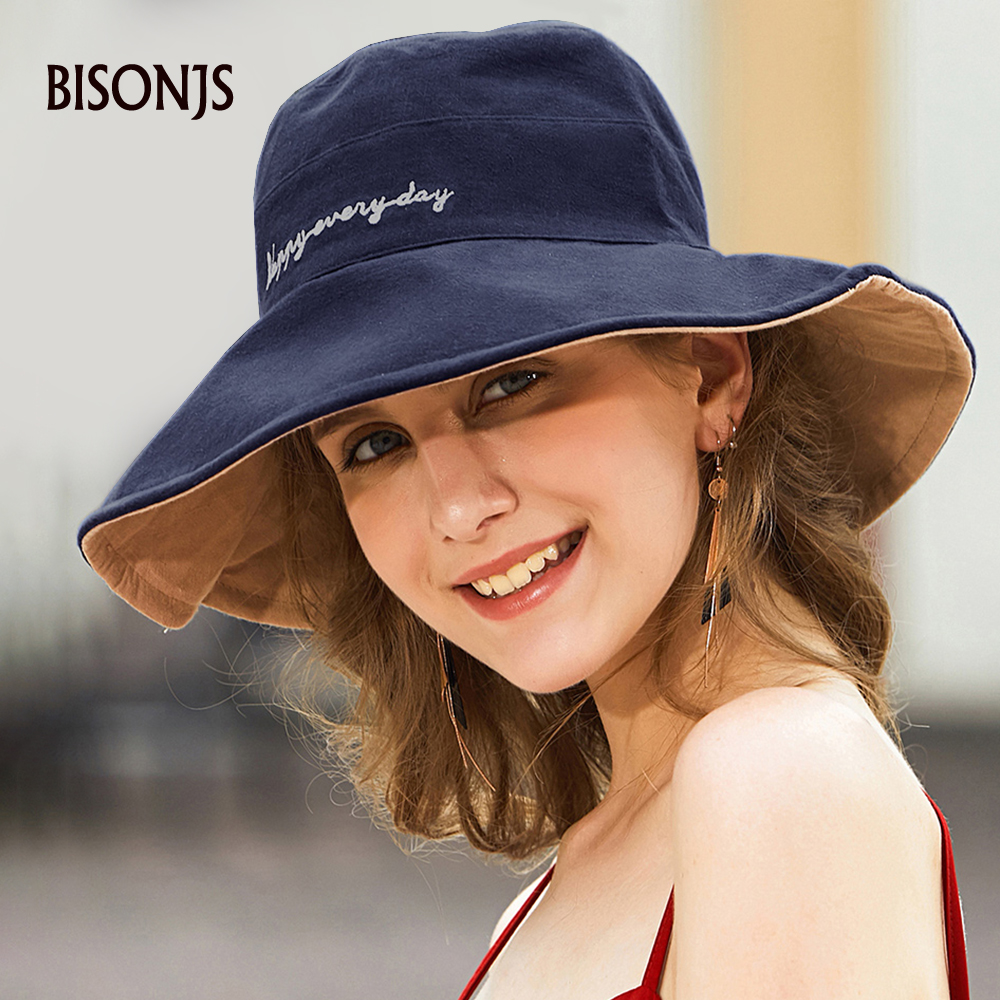 BISONJS 2020 New Cotton Embroidery Bucket Hat Fashion Fisherman Hats Outdoor Travel Hat Wearable On Both Sides Sun Cap For Women