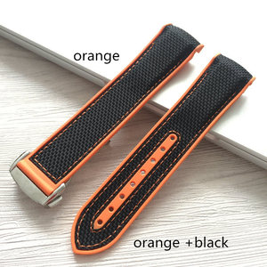 Image 4 - MERJUST  20 22mm Wholesale Rubber Silicone With Nylon Replacement Watch Band Strap Belt For OMEGA Planet Ocean  blue black red