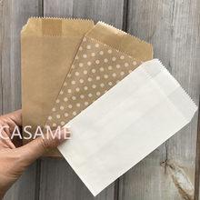25/50/100Pc Bio-Afbreekbaar Behandelen Candy Bag Party Favor Paper Bags Chevron Stip Streep print Papier Ambachtelijke Bakkerij Zak