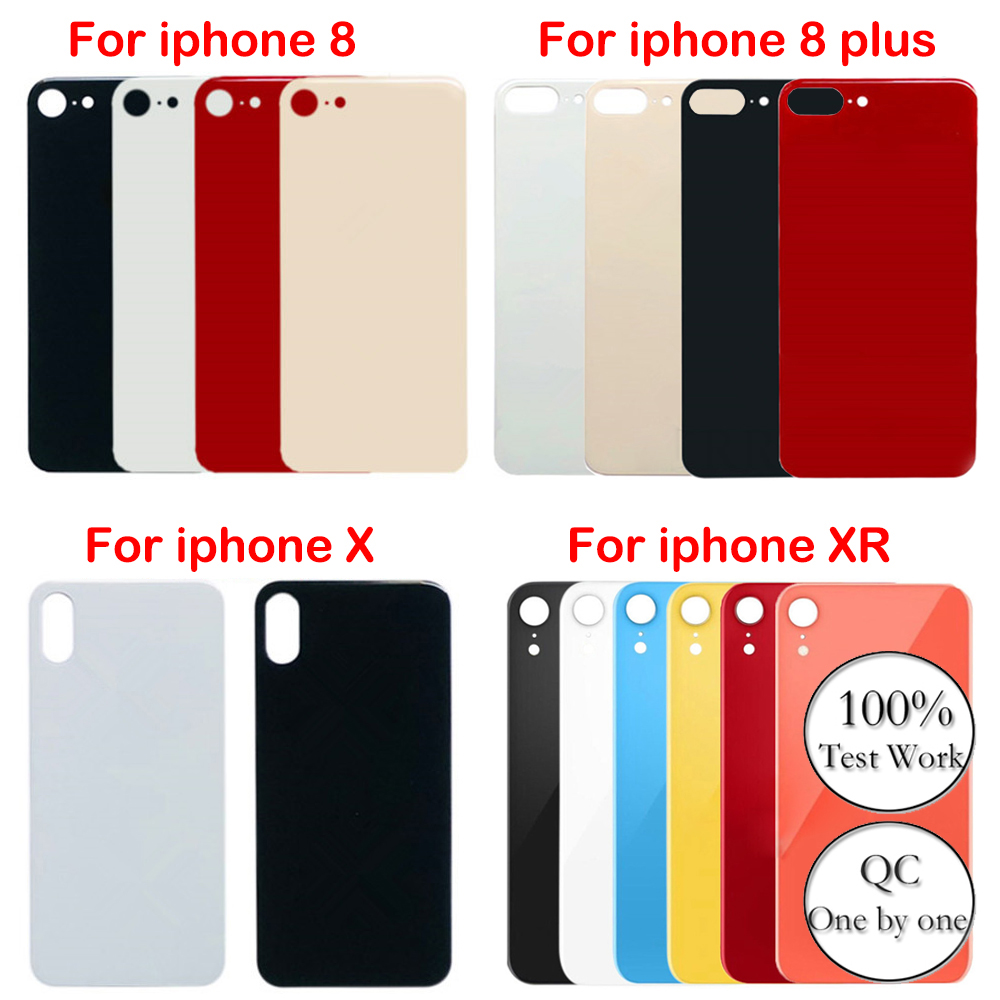 For IPhone 8 8plus X XS XR 100%New Original High Quality Big Hole Back Glass Battery Cover Rear Door Housing Parts Replacement