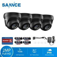 SANNCE 4pcs โดม 1080P กล้องวงจรปิดกล้อง IR Night IP66 2.0mp กล้องวงจรปิดการเฝ้าระวังความปลอดภัยกล้อง 4pcs 60ft สาย BNC