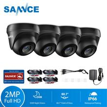 SANNCE 4pcs Dome 1080P CCTV Camera IR Night IP66 2.0mp CCTV Security Surveillance Camera with 4pcs 60ft BNC Cables